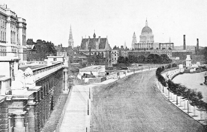 The Victoria Embankment seen from Waterloo Bridge