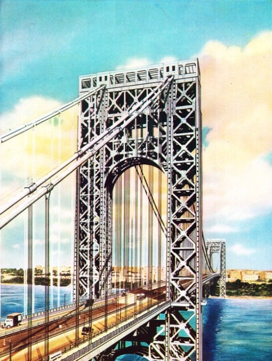 LINKING NEW YORK AND NEW JERSEY the George Washington Bridge was opened for traffic in 1932