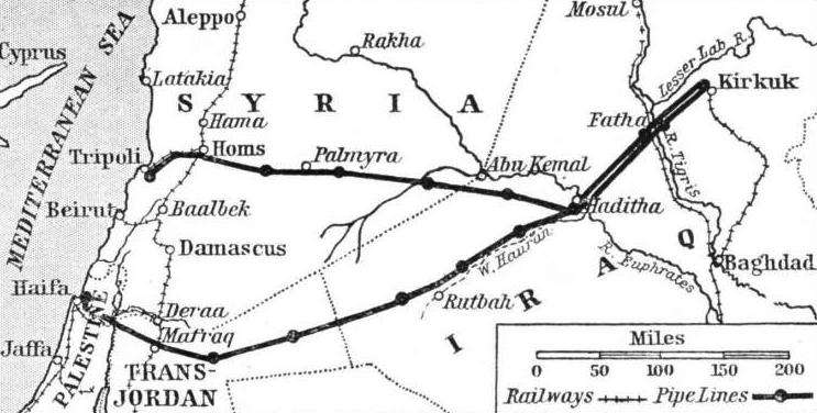 FROM KIRKUK TO TRIPOLI AND HAIFA run the two great pipe lines