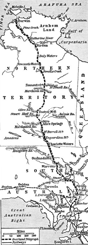 THE OVERLAND TELEGRAPH LINE across the Australian continent