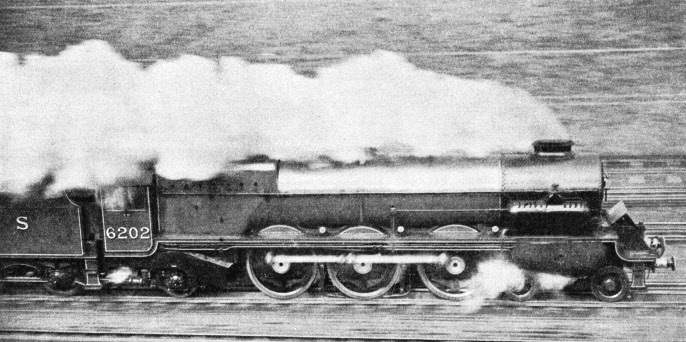 No. 6202, of the London, Midland and Scottish Railway, is a non-condensing turbine locomotive