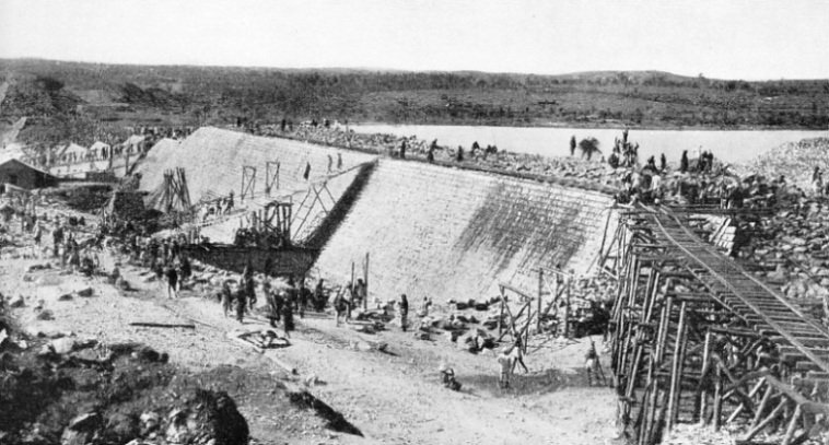WORK ON THE KRISHNARAJA SAGARA DAM, across the Cauvery River, which runs through Mysore and Madras