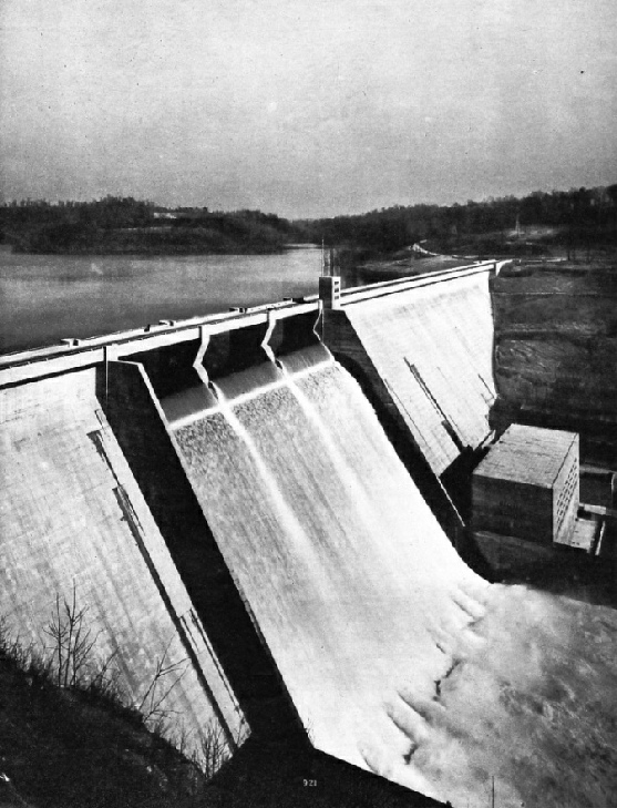 Norris Dam during the overflow period after the storage of flood water