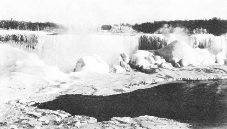IN WINTER THE NIAGARA FALLS ARE SOMETIMES FROZEN from bank to bank