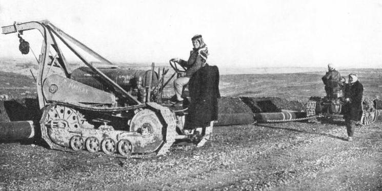 CRAWLER TRACTORS were used for transporting the lengths of steel pipe
