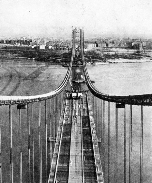 BUILDING THE ROAD DECK of the George Washington Bridge