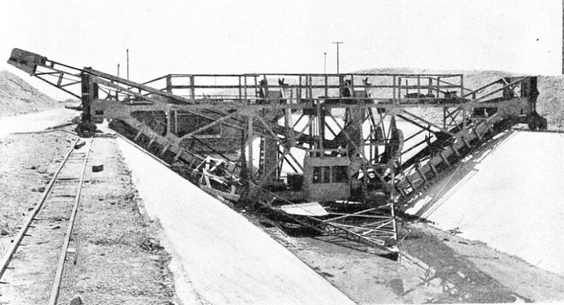 A WOODEN JUMBO, or moveable scaffold, straddled the canal section of the Colorado aqueduct
