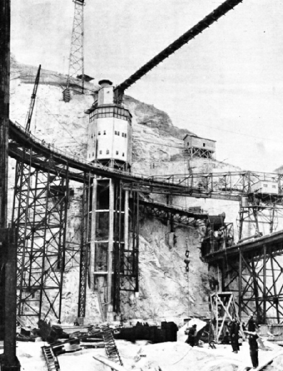 CONCRETE MIXING PLANT on the site of the Grand Coulee Dam