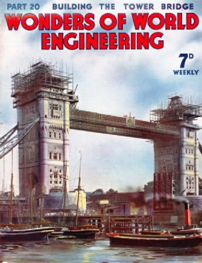 The Tower Bridge in course of construction