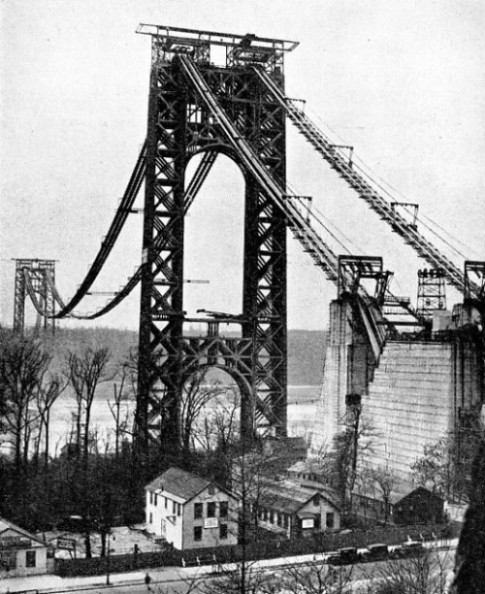 MANHATTAN TOWER of the George Washington Bridge rises 559 ft. 6 in. above the top of the pier on which it rests