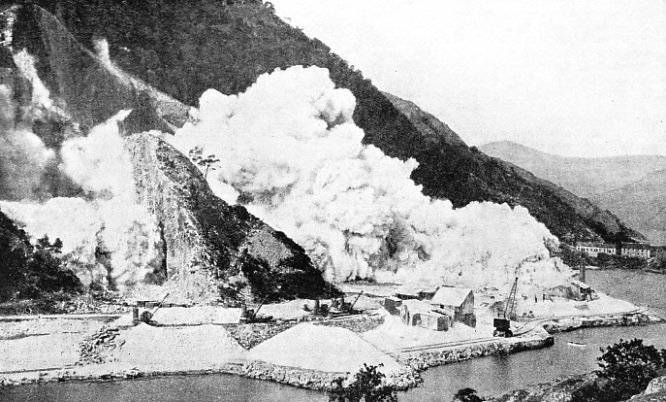 Twenty tons of gunpowder being detonated at Bonawe, on the shores of Loch Etive