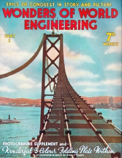 The Oakland Bay suspension bridge under construction