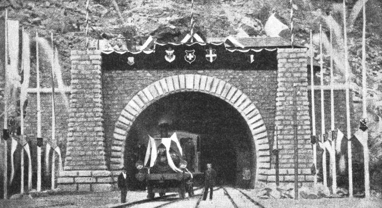 THE FIRST LOCOMOTIVE to pass through the St. Gotthard Tunnel