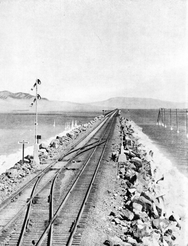 EMBANKMENTS were built four miles out into the western arm of the Great Salt Lake