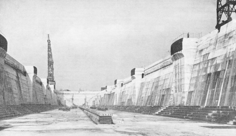 KING GEORGE V GRAVING DOCK with keel blocks In position
